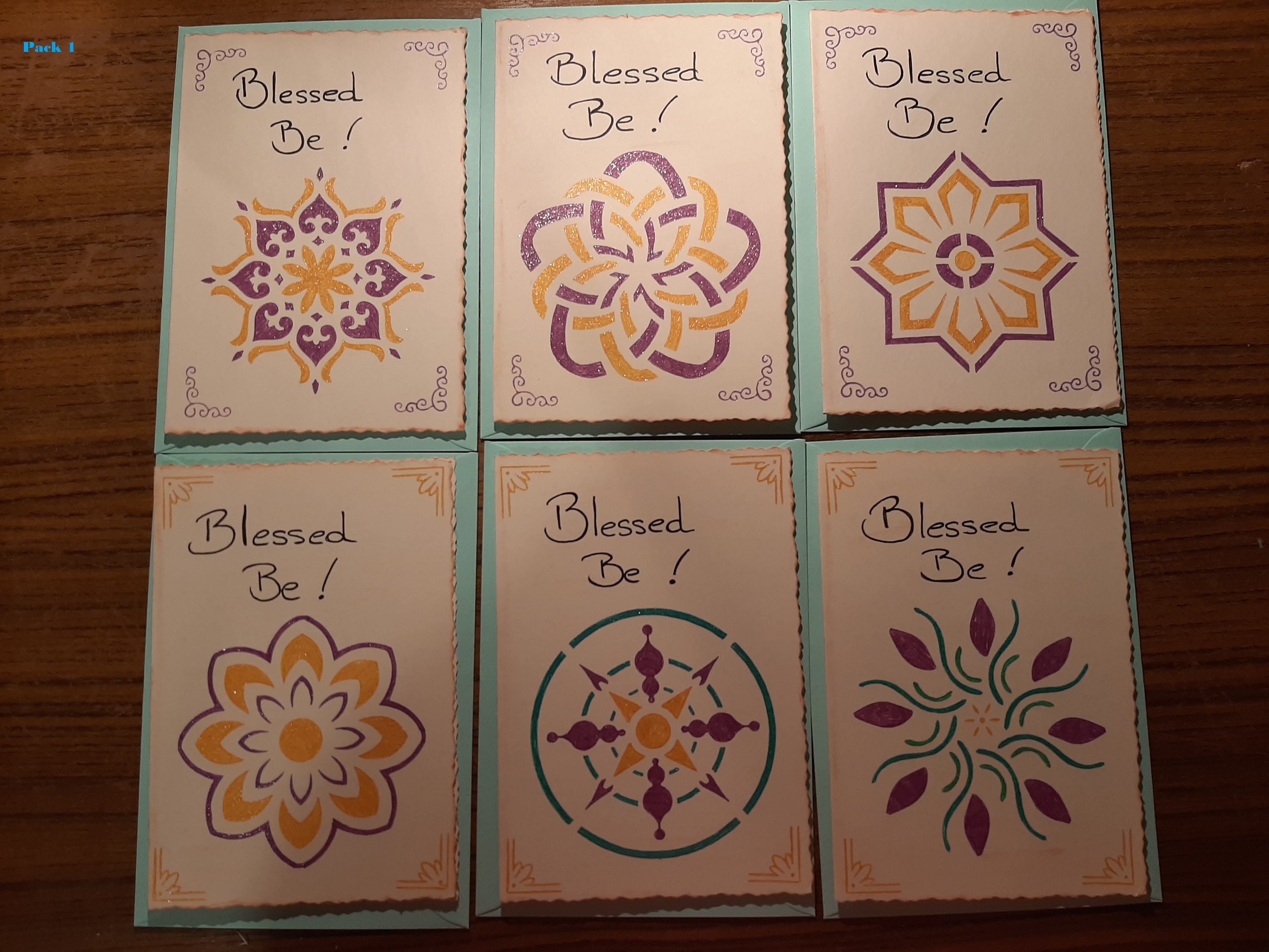 Handmade Notelets ~ Blessed Be   Pack 1