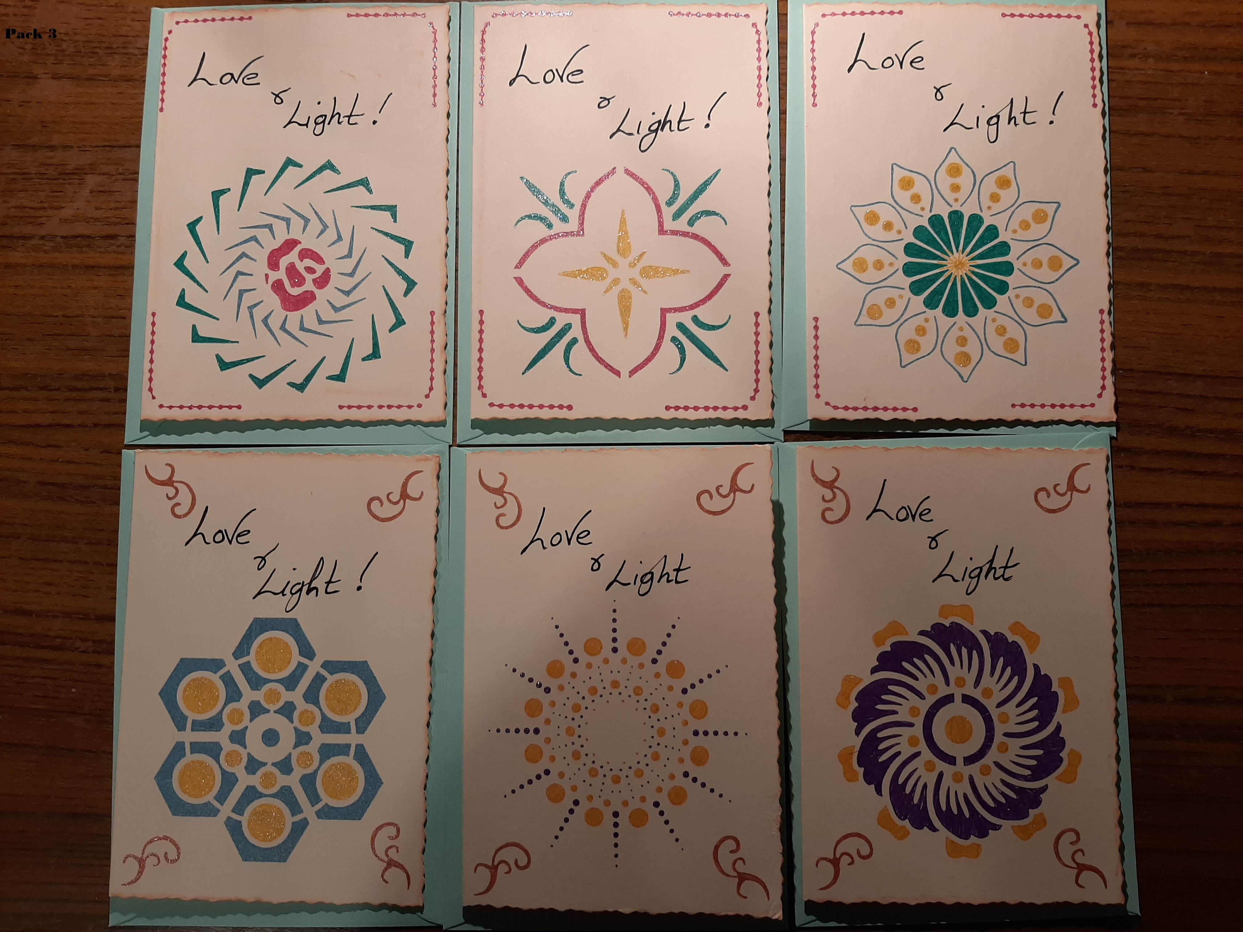 Handmade Notelets ~ Love and Light   Pack 3